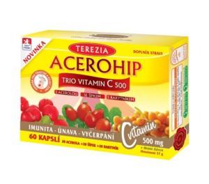 Acerohip trio vitamin C je prehransko dopolnilo iz 3 naravnih virov - acerola, Å¡ipek in rakitovec za naravno podporo imunskemu sistemu.